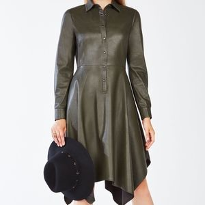 BCBG Beatryce Faux Leather Shirt Dress Olive Green